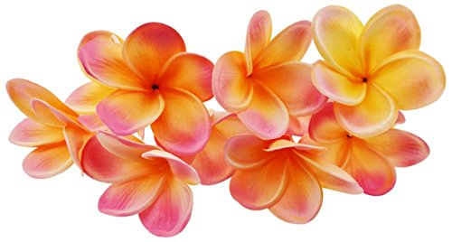 Winterworm Bunch of 10 PU Real Touch Lifelike Artificial Plumeria Frangipani Flower Bouquets Wedding Home Party Decoration (Orange+Pink)]()