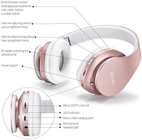 Bluetooth Headphones Wireless,MKay Girls Over Ear Headset V5.0 with Microphone, Foldable & Lightweight, Support Tf Card MP3 Mode and Fm Radio for Cellphones Laptop TV-Rose Gold
