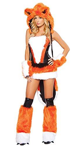Fire Fox Woman Costumes (Women Halloween Fire Fox Animal Hair Game Uniform Orange Fox Stage Suit)
