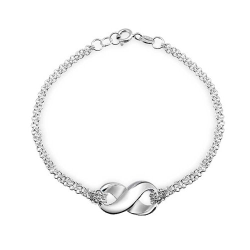 Sterling Silver Figure Eight Infinity Charm Bracelet (Figure 8 Charm)
