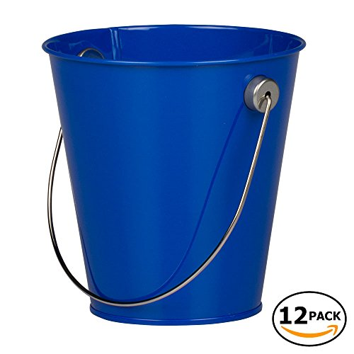 JAM Paper Colorful Metal Pails - Small - Royal Blue - 12 Party Favor Buckets/Pack -