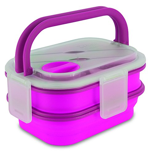 Smart Planet Collapsible Double Decker Meal Kit, 54 oz, Pink