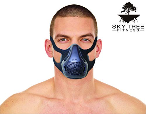 Sky Tree Fitness Hypoxic Mask - High Altitude Resistance Mask - Includes Free Carrying Case (Black, Medium)