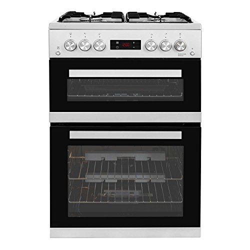 Beko KDG653S 60cm Double Oven Gas Cooker in Silver with LED Timer & Clock