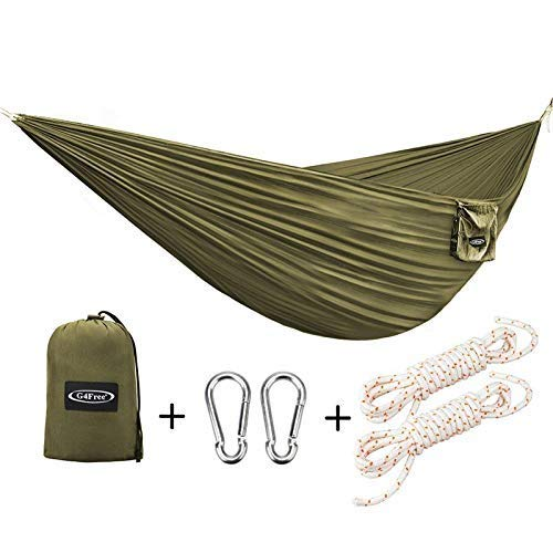 (G4Free Portable Hammock - Lightweight Pure Color Nylon Fabric Parachute Hammock for Outdoor Camping, Hiking,Travel, Hammock Ropes & Steel Carabiners Included(Camel) )