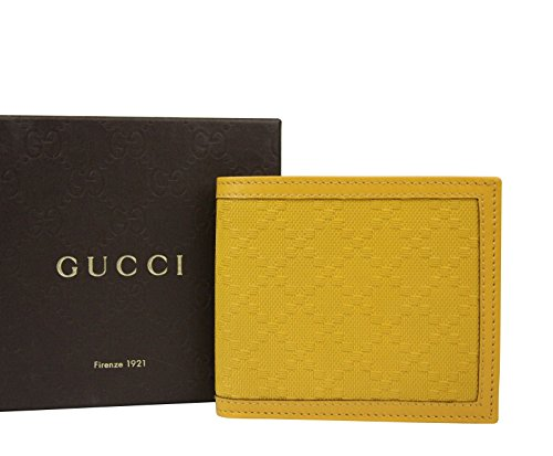 (Gucci Bifold Hillary Lux Yellow Diamante Leather Wallet 225826)