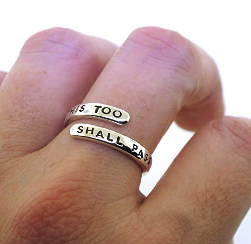 This Too Shall Pass Ring, adjustable sterling silver ring