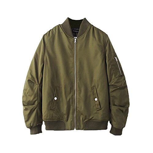 Hiheart Men & Youth MA-1 Flight Jacket Baseball Bomber Coat Army Green S