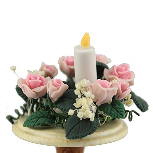 Generic 1:12 Scale Dollhouse Decoration Well Made Lovely Miniature Flower&flowers Candle