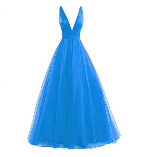 V Prom Neck Backless A Women s AK Dresses Gown Blue Line Evening Ocean Sexy Beauty xIaqWzU