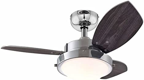 Westinghouse Ceiling Fans 78763 Wengue One-Light 76 cm Three-Blade Indoor Ceiling Fan, Chrome Finish with Opal Frosted Glass