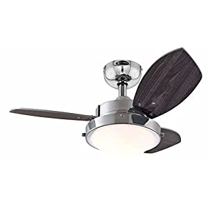 Westinghouse Ceiling Fans 78763 Wengue One-Light 76 cm Three-Blade Indoor Ceiling Fan, Chrome Finish with Opal Frosted…