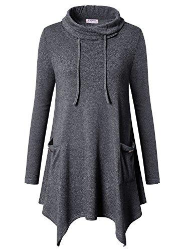 Bulotus Womens Long Sleeve Cowl Neck Asymmetrical Hem Tunic Tops with Pockets