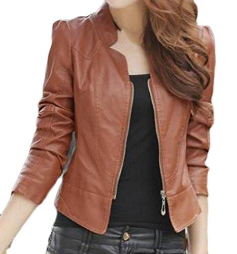 Pandapang Womens Faux Leather Moto Biker Bomber Cropped Short Jacket Coat Camel L ()