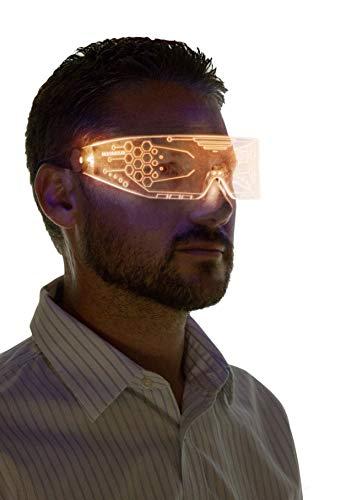 Neon Nightlife LED Light Up Glasses, Single Lens Tron Style, Orange