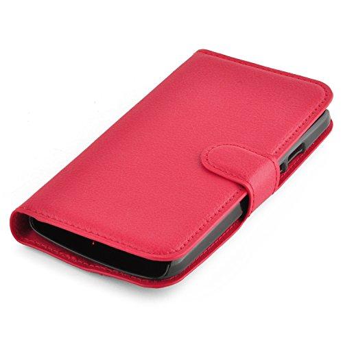 Cadorabo - Funda Motorola MOTO G2 (2.Generación) Book Style de Cuero Sintético en Diseño Libro - Etui Case Cover Carcasa Caja Protección (con función de suporte y tarjetero) en VIOLETA-DE-MANGANESO ROJO-CARMÍN