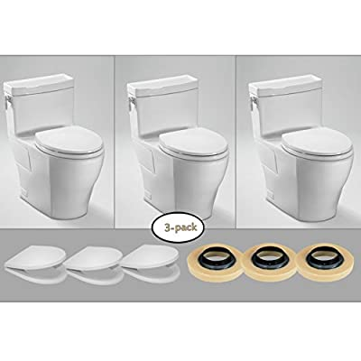 TOTO 3 x Aimes One-Piece Toilets, (1.28 GPF) with 3 Wax Rings & 3 Toilet Seats