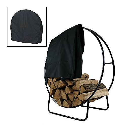 Sunnydaze Outdoor Firewood Log Hoop and Cover Set - 48-Inch Powder-Coated Steel Lumber Storage Rack and Black Weather-Resistant Heavy-Duty Protective PVC Cover (Rack Lumber Duty Heavy Storage)
