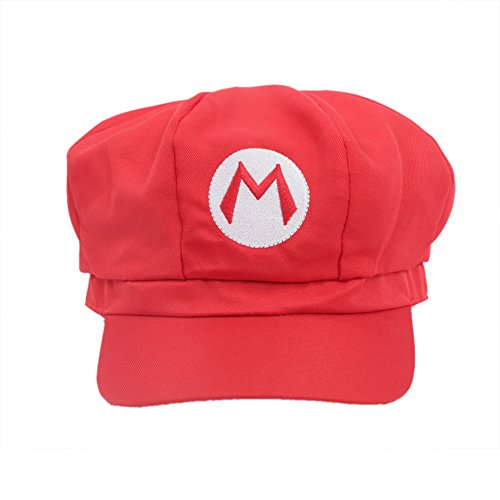 Xcoser Classical Super Bro Hat Cap for Halloween Costume Red -