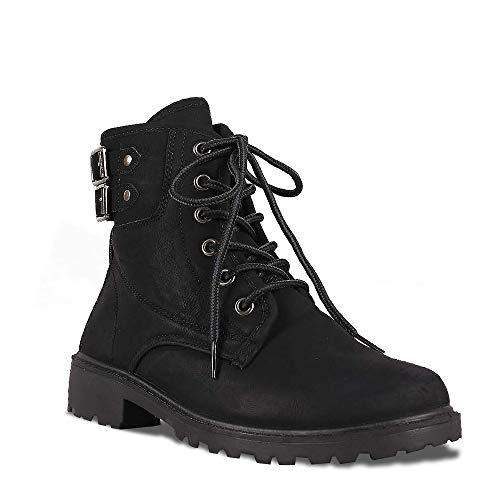 - ShoBeautiful Women's Ankle Combat Military Lace Up Work Boots Ladies Casual Shoes WY26 Black 7
