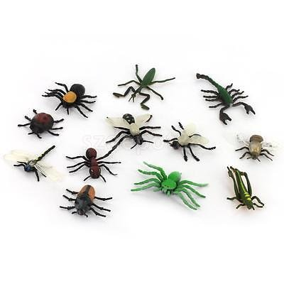 12 Plastic Bugs Insects Spider Ant Scorpion Figure Toy Kids Party Bag Filler by uptogethertek
