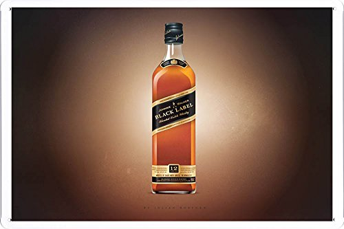 Johnnie Walker Whiskey Only Black Label Tin Poster by Food & Beverage Decor Sign