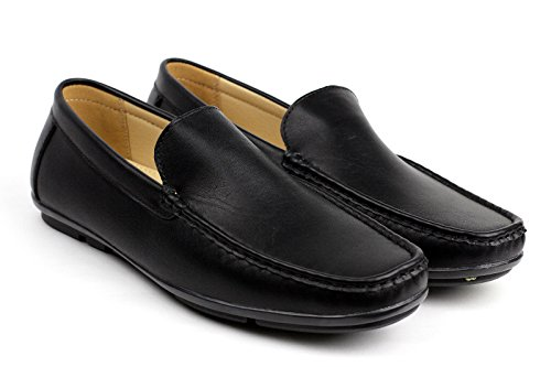 Albertini Herren Freizeit Slip-On Fahren Schuhe Smart Mode Designer Slipper Mokassin Stil Schwarz