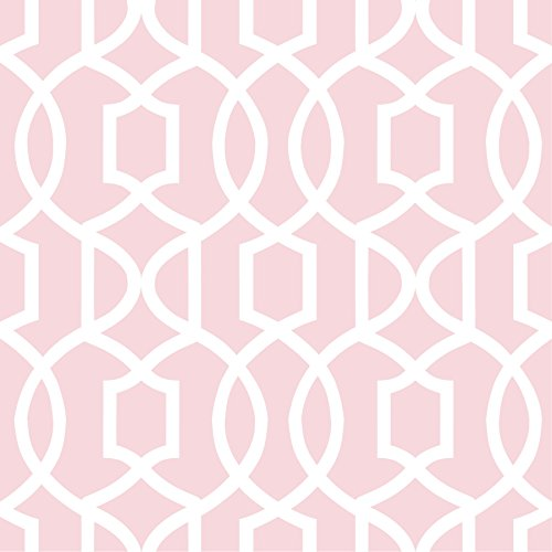 (Wall Pops NU1420 Pink Grand Trellis Peel and Stick Wallpaper)