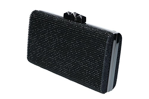 Sac à main femme MICHELLE MOON pochette noir cérémonie avec strass N951