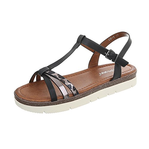Ital-Design Zapatos Para Mujer Sandalias de Vestir Plano Sandalias con Hebilla Negro CS-5