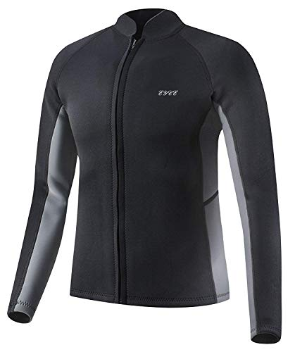 EYCE Dive & SAIL Men's 3mm Wetsuit Jacket Top Long Sleeve Neoprene Wetsuits (Black/Grey, Medium)
