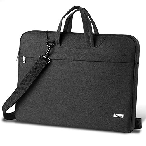 Voova Laptop Bag 17 17.3 inch Water-Resistant Laptop Sleeve Case with Shoulder Straps & Handle/Notebook Computer Case Briefcase Compatible with MacBook/Acer/Asus/Dell,Black