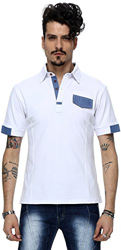What Lees Mens Urban Casual Basic Short Sleeve Golf Polo Shirts Chest Pocket B001-WHITE-S