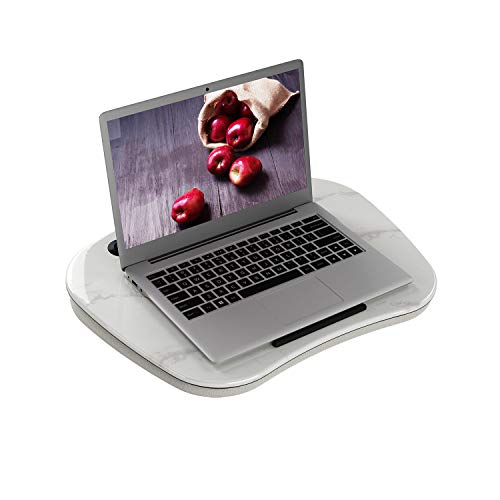 HOME BI Laptop Lap Desk with Handle, Portable Lap Table with Phone Holder, Pillow Cushion, Small and Cute, Fits up to 14 inch Slim Laptop