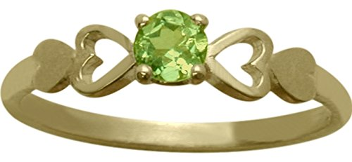 14 Karat Yellow Gold Genuine Peridot Round Shape Baby Ring - SIZE 4 by Elite Jewels