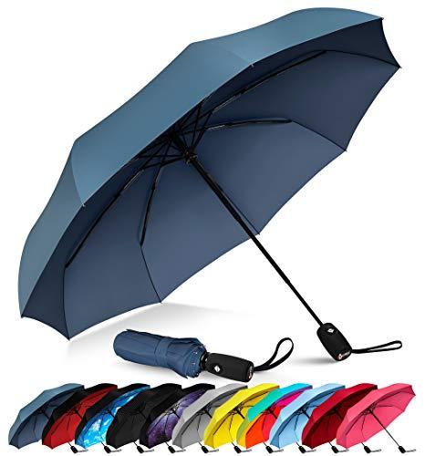 Repel Windproof Travel Umbrella with Teflon Coating (Navy Blue)]()