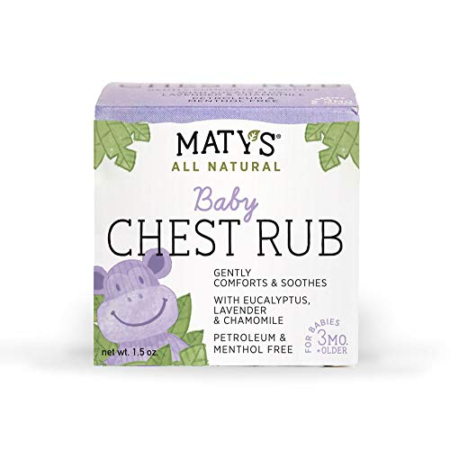Maty's All Natural Baby Chest Rub 1.5 Oz, Eases Congestion & Soothes to Sleep (Best Way To Sleep With A Cough)