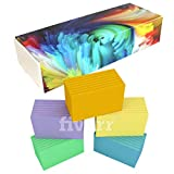 DEBRADALE DESIGNS - Small Ruled Colored Index Cards - 3-1/2'' x 2'' Inches - 5 Colors - 1,000 Cards - BONUS Storage Dispenser Box With Attached Lid & Velcro Closure - Made in USA (Unpunched)