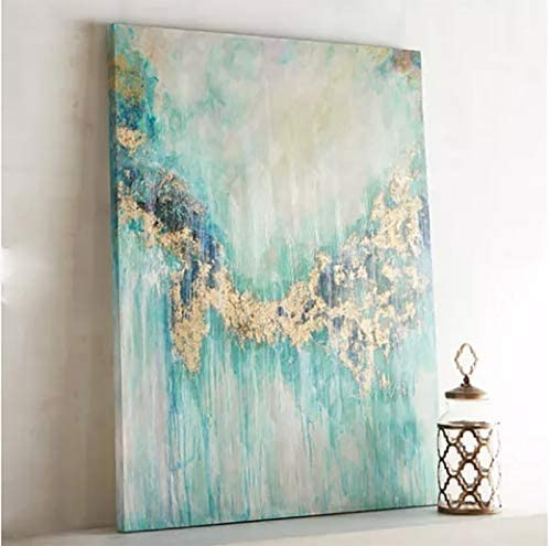 Orlco Art Hand-Painted Abstract Wall Art Oil Painting on Canvas Abstract Gold and Green Oil Painting for Living Room Green 28X36inch with The Stretched