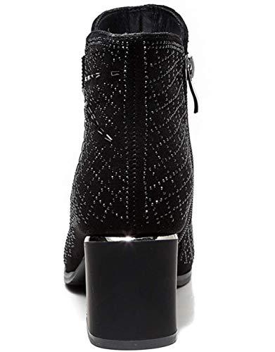 Invierno Fashion Heel Individuales Chunky Para Mujer Shiney Black Botines Short 2018 Boots Zapatos wIxpHI4g1q