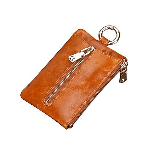 Genda 2Archer Unisexo Cartera de cuero Clave de caso Holder tarjetas de crédito nota monedero (vino rojo) marrón