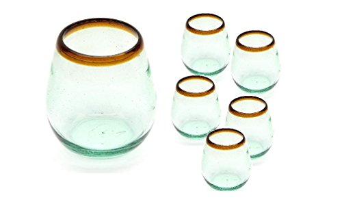 6 Pc Set of Amber Rimmed Stemless Wine Glasses - Hand Blown from Recycled Glass Amber Blown Glass