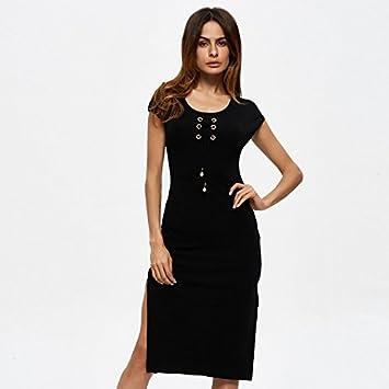 OME&QIUMEI Faldas, Vestidos, Faldas De Bolsillo De Tejidos En Ambos Lados,Negro,