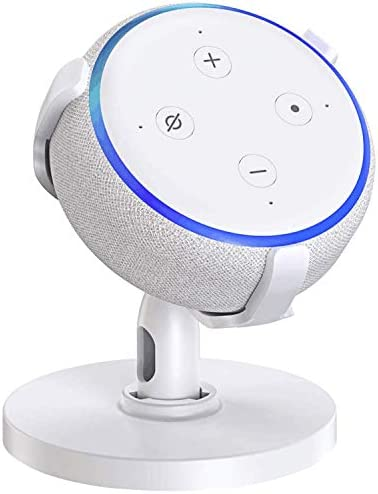Soporte de mesa para Echo Dot de 3ª generación, soporte ajustable de 360 °, accesorios de punto que ahorra espacio, sin sonido amortiguado, gancho de salida original para altavoz de hogar inteligente 3