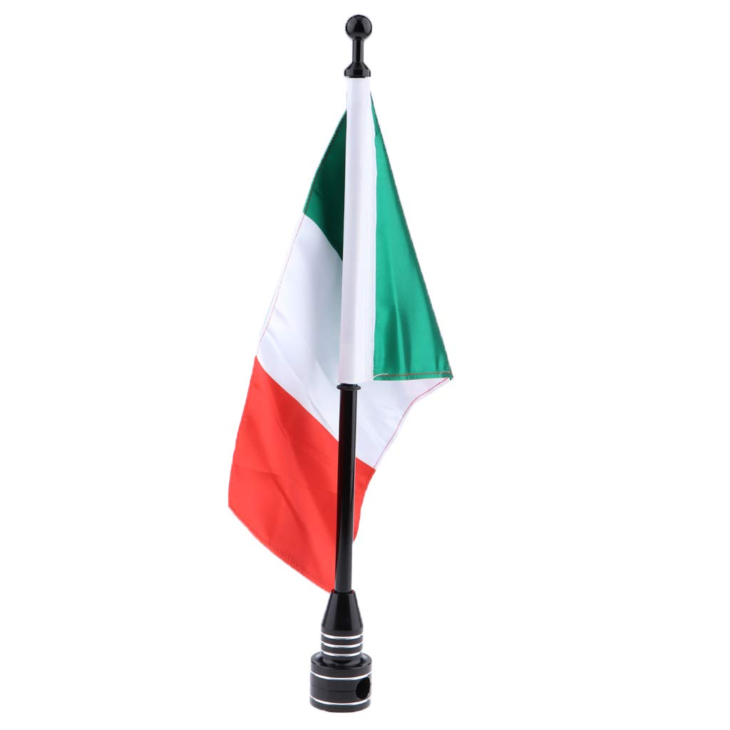 MagiDeal Motorcycle Italy Flag Pole Mount Custom Rack Luggage Flag for Harley