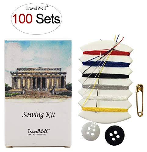 TRAVELWELL Individually Wrapped Embroidery Compact Sewing Kit Boxed 100 Sets per Case Hotel Toiletries Amenities Landscape Series
