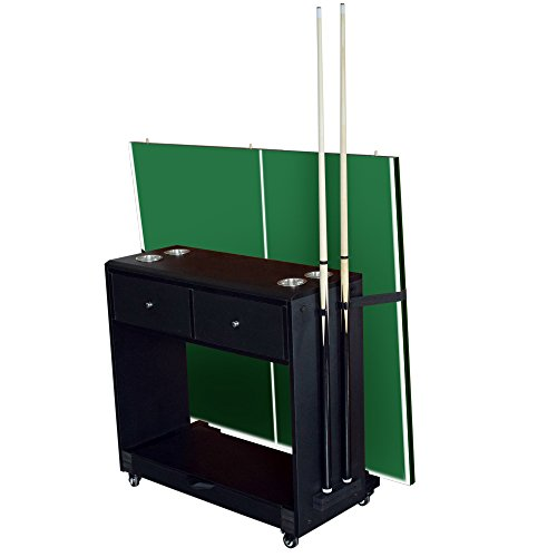 (Hathaway Multi-Purpose Game Room Caddy for Billiards, Table Tennis, Air Hockey and Shuffleboard, Black)