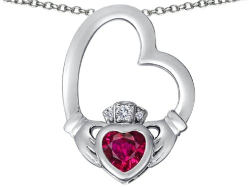 Star K Floating Heart Irish Claddagh Pendant Necklace with Heart Shape Created Ruby Sterling Silver