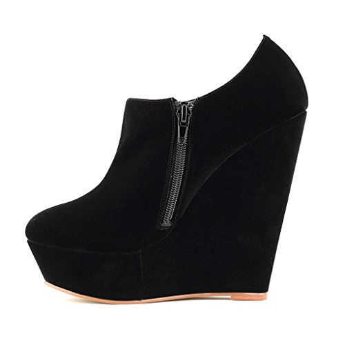 ZriEy Women's Faux Suede Wedge High Heel Fashion Boot Booties Velvet Black size 6