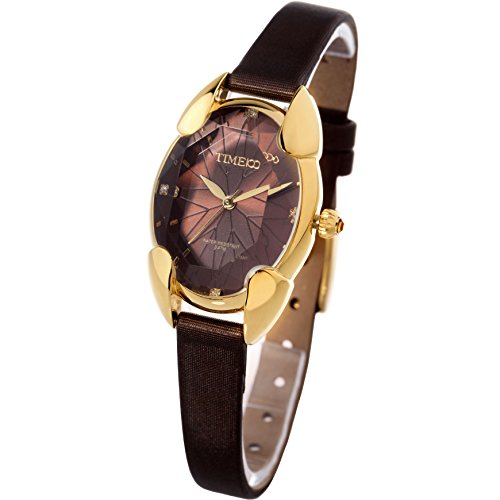 Time100 Polyhedral Crystal Dial Ladies Watch, With Stainless Steel Cover, Stylish & Casual Leather Strap Watch for Women - Steel Stainless Watch Crystal Pocket